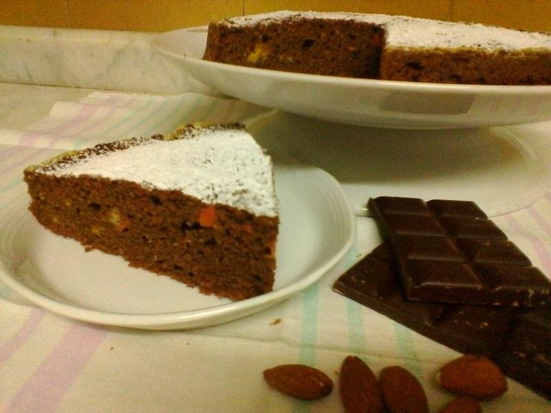 torta carote mandorle e cioccolato