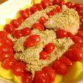 merluzzo al forno con gratin alle erbe,patate e pomodorini